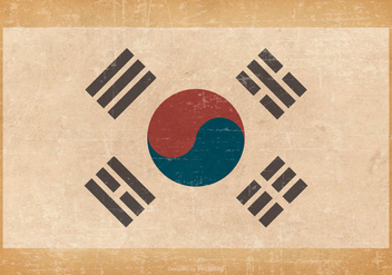 South Korean Flag on Grunge Background - Free vector #428175