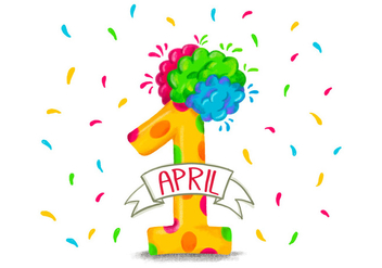 Colorful Funny Number One for April Fool's Day - vector gratuit #428215