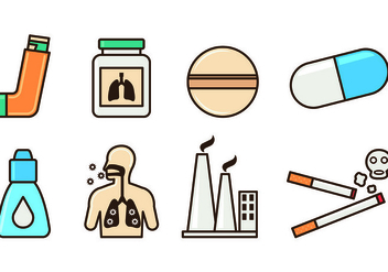 Set Of Asthma Icons - Free vector #428365