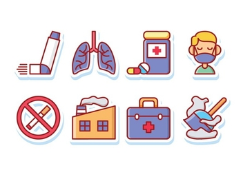 Asthma Symptoms Sticker Icon Pack - vector gratuit #428375