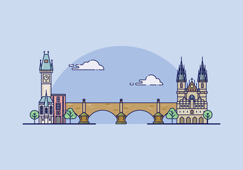Prague Landmark Illustration - Free vector #428555