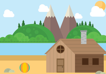 Mountain Beach Cabin Landscape Vector - бесплатный vector #428595