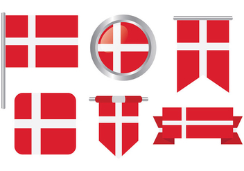 Free Danish Flag Icons Vector - vector gratuit #428675