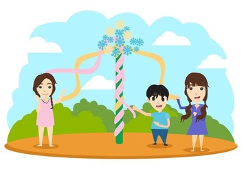 Free Maypole With Children Vector Illustration - Free vector #428845