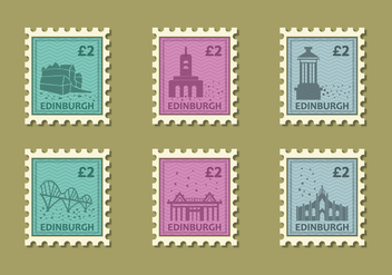 Edinburg Building Vintage Stamp Vector Illustration - бесплатный vector #428855