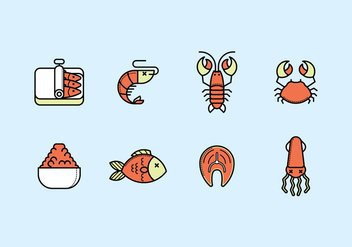 Seafood Icon Set - Free vector #428885