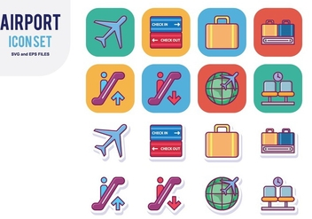 Airport Icon Set - vector #428915 gratis