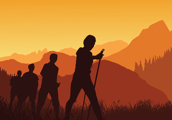 Nordic Walking Sunset Silhouette Free Vector - Free vector #428925