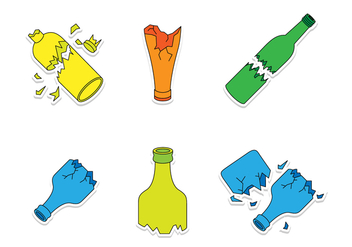 Broken Bottle Cartoon Vectors - бесплатный vector #429055