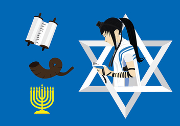 Jewish Worshipper with Tefillin Free Vector - бесплатный vector #429145