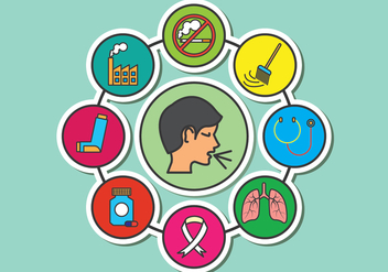 Medical Asthma Vector Icons - Free vector #429165