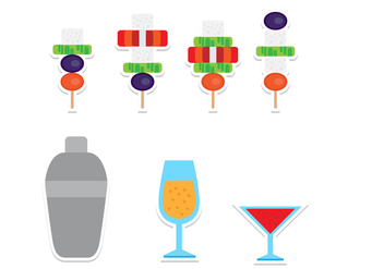 Flat Canapes and Drinks Icon Set - Free vector #429205