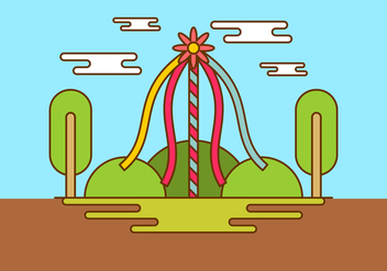 Maypole In Spring Time Vector Background - vector gratuit #429225