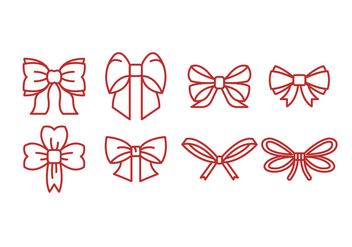 Red Outline Ribbon Icon Vector - Free vector #429275
