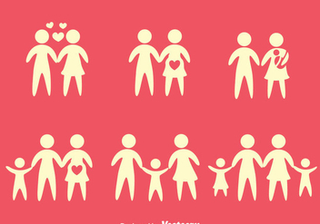 Family SIlhouette Icons Vectors - Kostenloses vector #429285