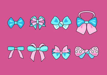 Blue And Pink Hair Ribbon Free Vector - Free vector #429295