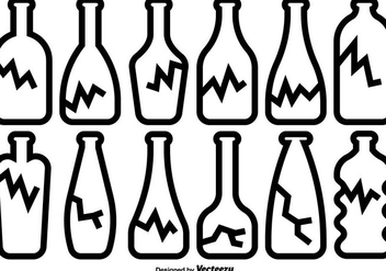 Broken Bottle Icons Vector Set - Free vector #429495