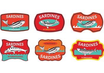 Set of Sardines label - vector gratuit #429505