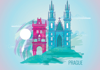 Beautiful Painting of Prague - Free vector #429615