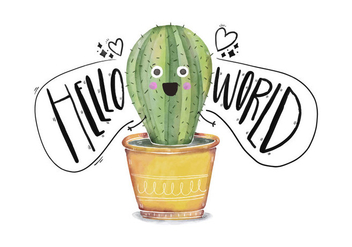 Cute Cactus Character Saying Hello World Quote - Free vector #429645