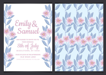 Vector Wedding Invitation with Hand Drawn Flowers - Free vector #429915