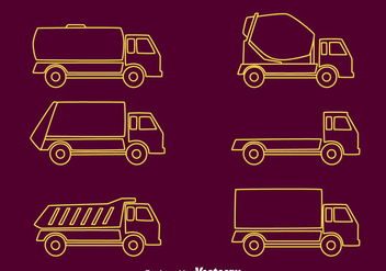 Trucks Line Collection Vector - vector #430025 gratis