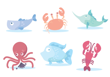 Colorful Seafood Vector - vector gratuit #430085