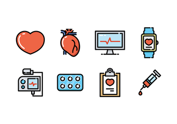 Cardiology Icon Set - vector gratuit #430125
