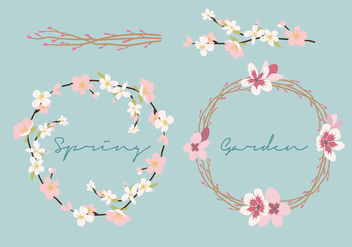 Spring Flower Wreath - Free vector #430155