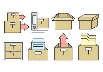 Linear Office Storage Box Icons - Free vector #430255