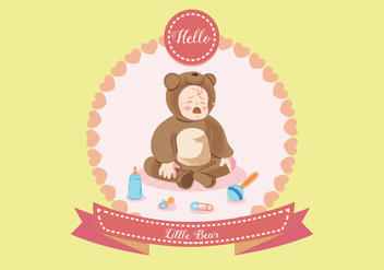 Crying Baby in Bear Costume Vector - Free vector #430275