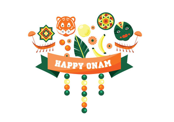 Happy Onam Festival Vector - бесплатный vector #430295