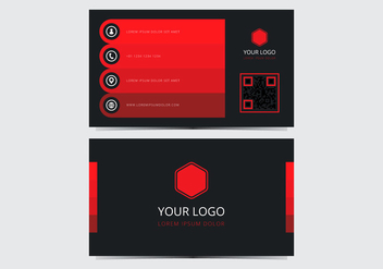 Red Stylish Business Card Template - vector gratuit #430595