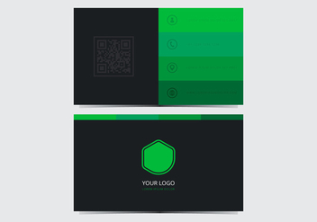 Green Stylish Business Card Template - vector gratuit #430605