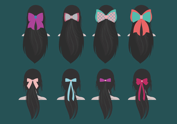 Long Hair Ribbon Vector - Kostenloses vector #430635