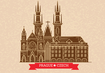 Prague Skyline Illustration on Letterpress Style - vector gratuit #430665