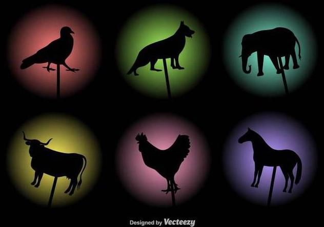 Vector Shadow Puppets Animals Silhouettes Set - vector gratuit #430745