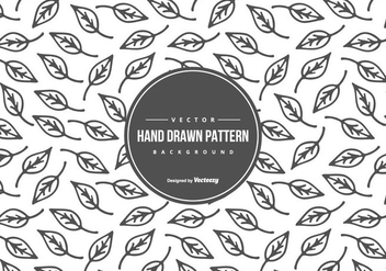 Cute Hand Drawn Style Leaf Pattern Background - Free vector #430835