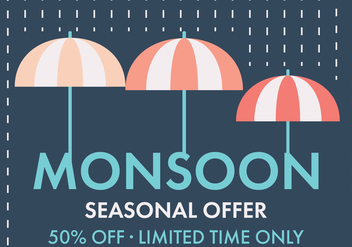 Monsoon Umbrella Vector Offer - Kostenloses vector #430875