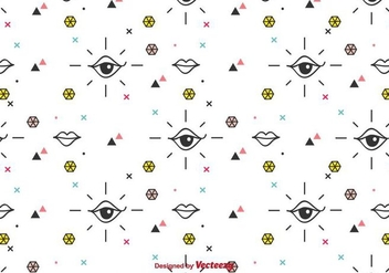 Eyes And Lips Vector Pattern - Free vector #430895