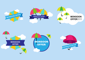 Monsoon Sticker Design - Free vector #430905