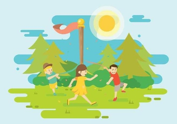 Free Girl And Friend Dancing Around Maypole Illustration - Free vector #430955