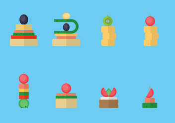 Canape Snacks Flat Illustration - vector gratuit #431125