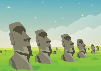 Easter Island Statue Lanscape Illustration Vector - Free vector #431245