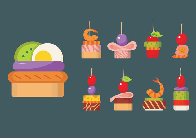 Canapes food slice isolated vector free vector download for Canape vector download