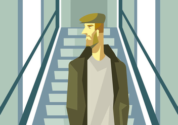 A Man With Hat At The Escalator Vector - Free vector #431305