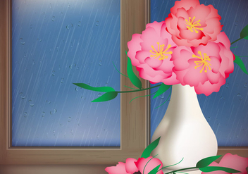 Red Flower With Rainy Day Window Vector - Kostenloses vector #431315
