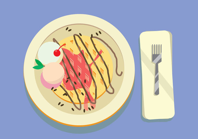 Waffle Topped With Vanilla Ice Cream, Chocolate And Cherry in The Blue Table Vector - Free vector #431475