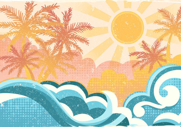 Tropical Beach In Flat Style - Free vector #431485