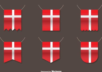 Vector Set Of Danish Flags - vector gratuit #431495